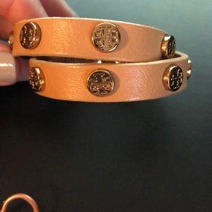 Tory Burch brown leather studded Logo bracelet